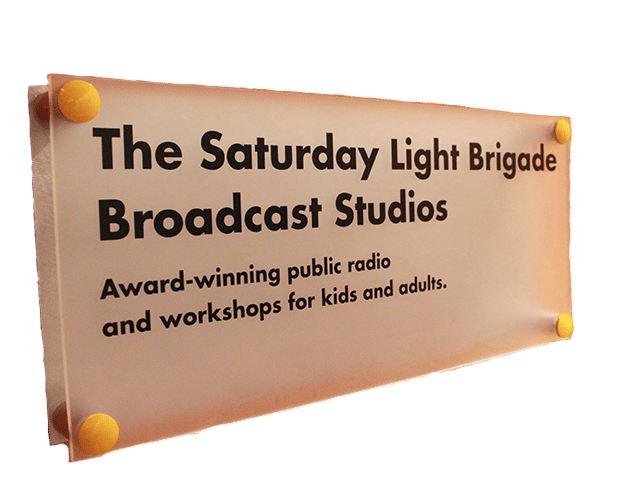 The Saturday Light Brigade Broadcast Studios Sign